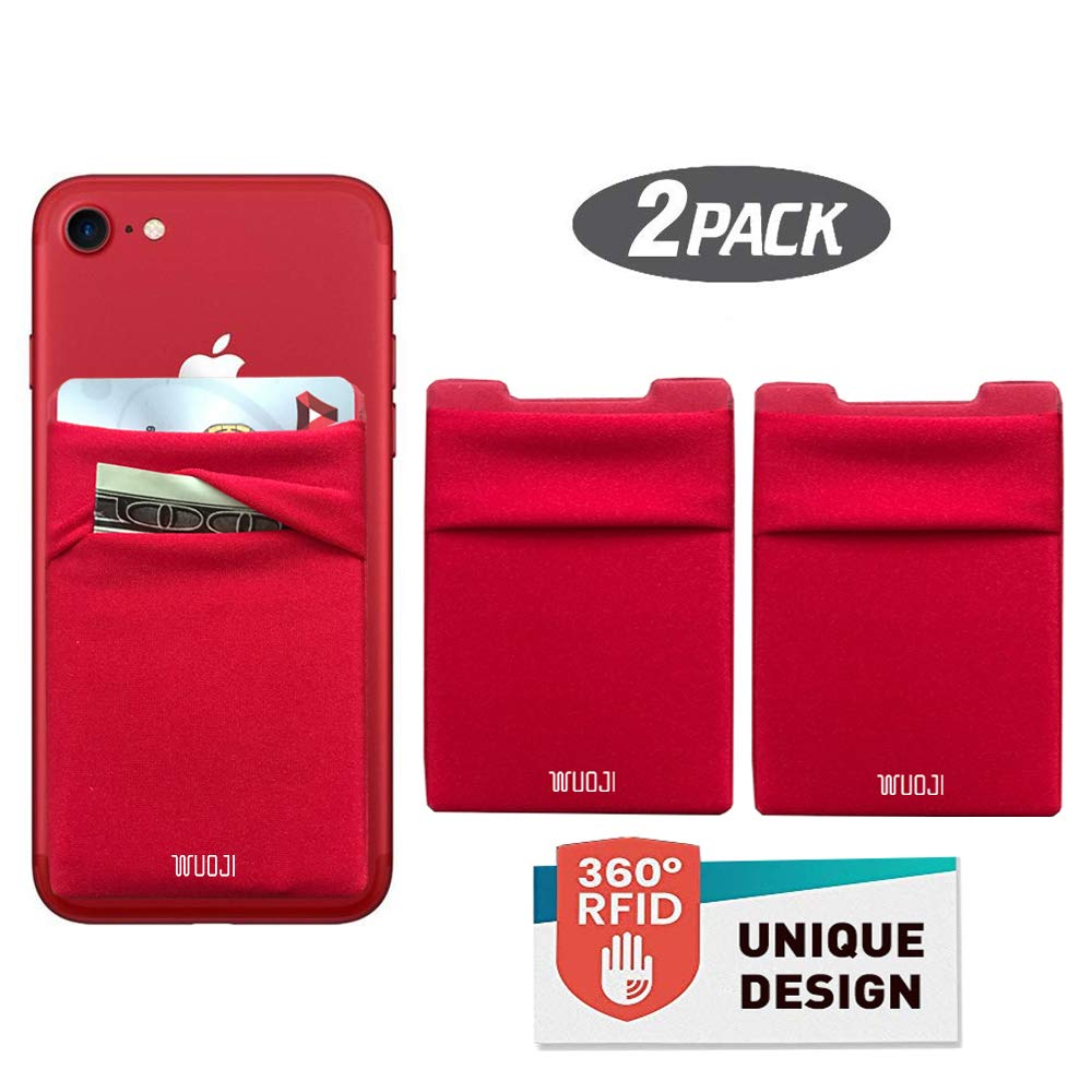 [2pc] RFID Blocking Phone Card Wallet - Double Secure Pocket - Ultra-Slim Self Adhesive Credit Card Holder Card Sleeves Phone Wallet Sticker All Smartphones (Red) by WUOJI