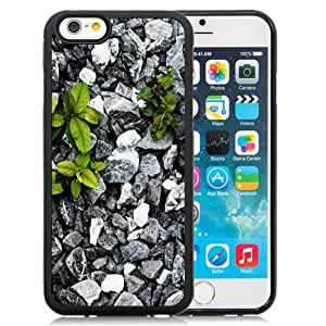 Fashionable Custom Designed iPhone 6 4.7 Inch TPU Phone Case With Plants Between Stones_Black Phone Case