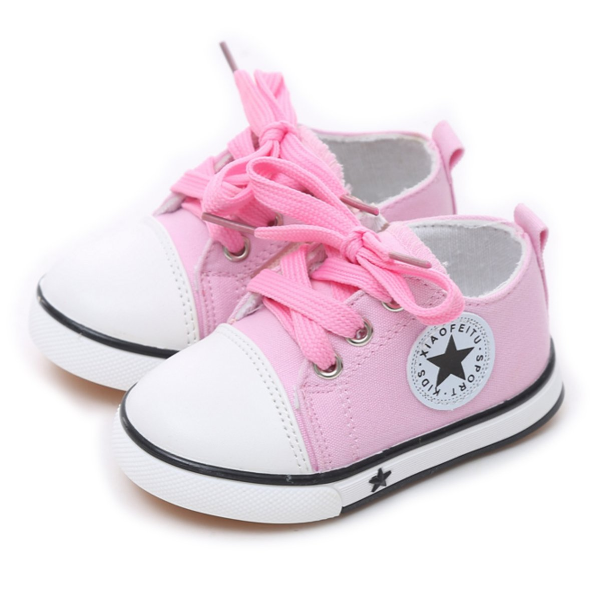 Tutoo Unisex Baby Boys Girls Shoes Kids Canvas Toddler Child Soft Sole Fashion Sneakers … (5 M U.S Toddler, A-Pink)