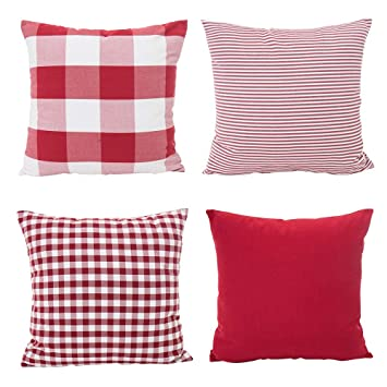 Plaid Christmas Pillows.Tealp Christmas Pillow Covers Buffalo Plaid Gingham Pattern Red And White Decorative Pillows Couch 18 X 18 Pillow Cover 4 Pack