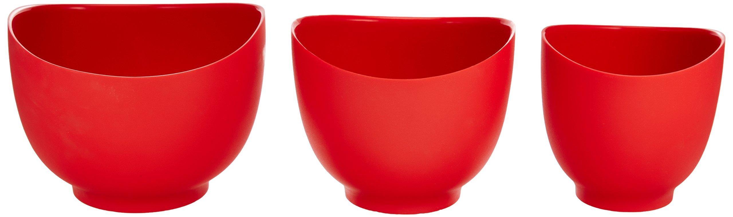 iSi Basics FlexibleSilicone Mixing Bowls, Set of 3, 1 QT, 1.5 QT, 2 QT, Red by iSi North America