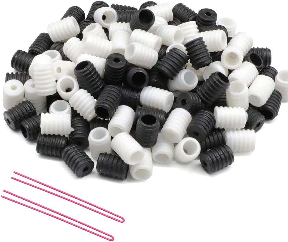 100pcs Cord Locks String Toggles Silicone,Elastic Cord Adjuster Adjustable Non Slip Stopper Soft Ear Loop Buckle Elastic Band for Cord Drawstrings Black White