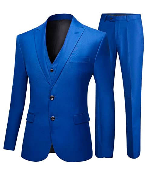 Amazon.com: botong Azul Real groomsmen Suits 3 piezas ...
