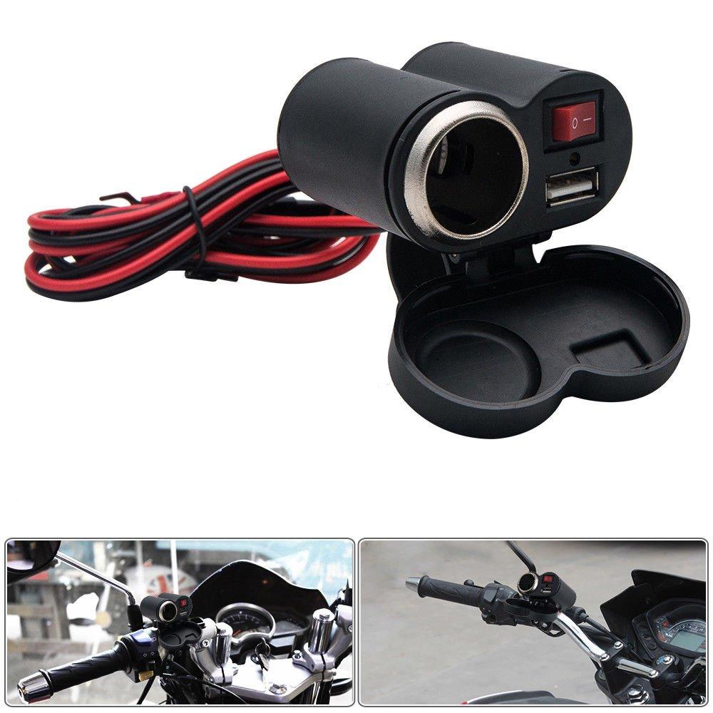 AUTLY 1x Chargeur USB pour moto Port D'alimentation É tanche Double 2 Prise Prise Chargeur Adaptateur Avec Interrupteur 12-24 V 2, 1 Ampè res Universel 1 Ampères Universel
