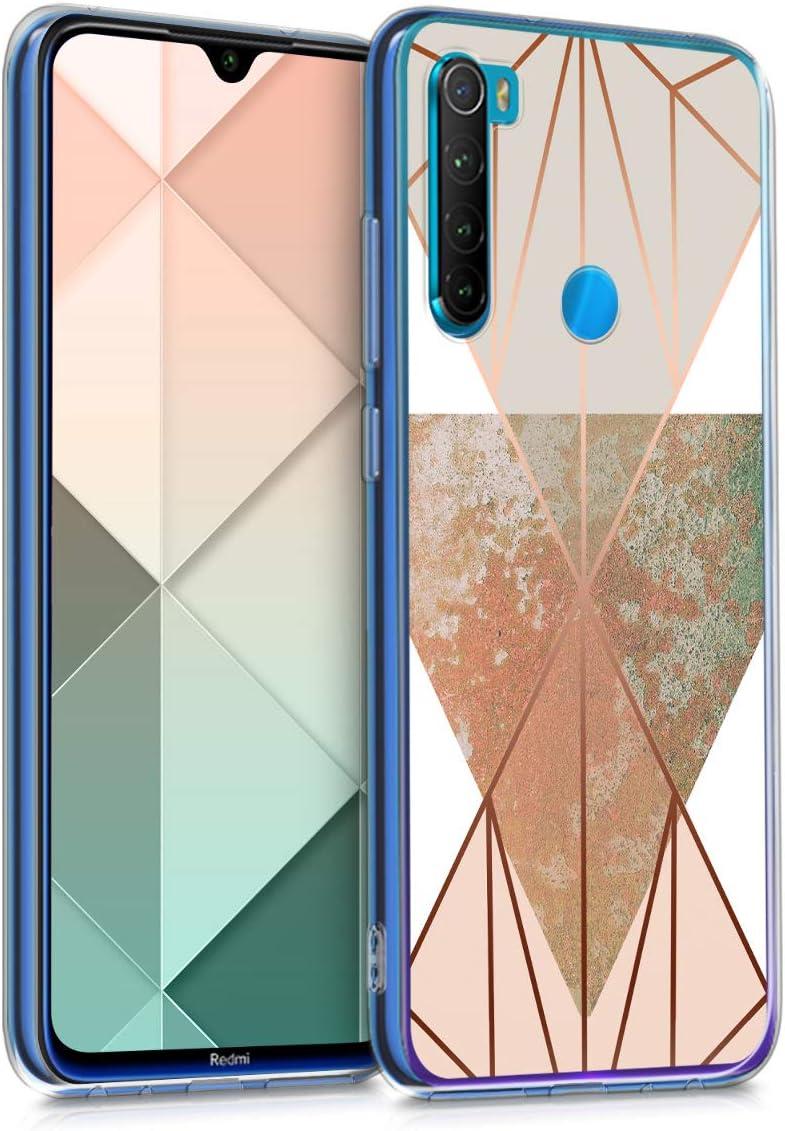 kwmobile Funda Compatible con Xiaomi Redmi Note 8 - Carcasa de TPU y geometría en Beige/Oro Rosa/Blanco