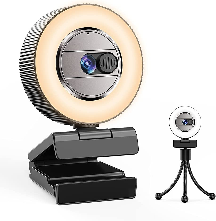 2021 CASECUBE 2K Ultra HD Webcam with Microphone and Ring Light, Webcam Cover Slide, Plug and Play Web Camera, 3-Level Brightness and 2-Color Light, Streaming Webcam for Zoom Skype YouTube Facebook
