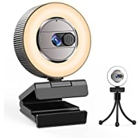 2021 CASECUBE 2K Ultra HD Webcam with Microphone and Ring Light, Webcam Cover Slide, Plug and Play Web Camera, 3-Level…