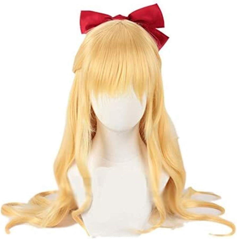 GIAOYAO Sailor Venus Cosplay Wigs Sailor Moon Minako Aino Cosplay Wig Blonde Loose Wave Long Heat Resistant Synthetic Hair Wig