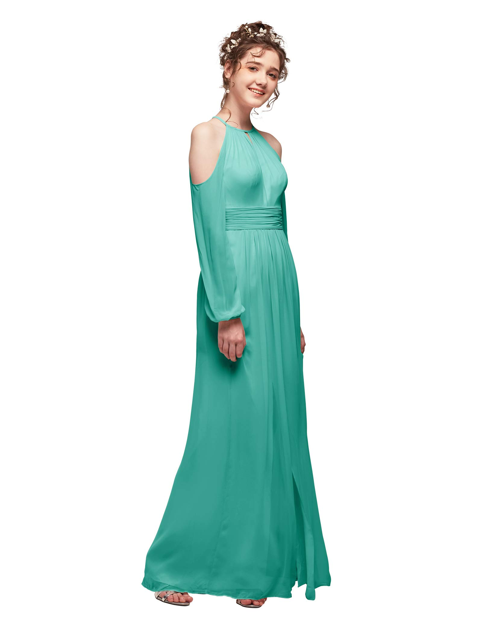 AW Chiffon Long Bridesmaid Dresses with Sleeves Split Prom Dresses Plus  Size Mother of The Bride Dress Tiffany, US22