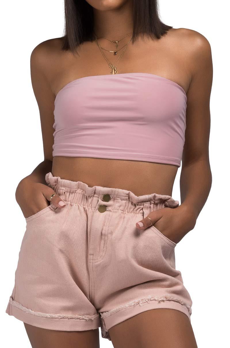 AKIRA Women's Elastic Paper Bag Waist Button Fly Roll Hem Dusty Denim Shorts-Pink_L