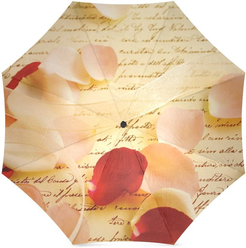 Wofox Fashion Custom Rose Petals on Letter Foldable Travel Umbrella