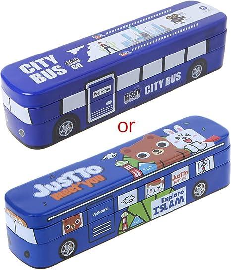 Forgun - Estuche para lápices de dibujo animado (tamaño grande, doble capa), diseño de autobús: Amazon.es: Juguetes y juegos