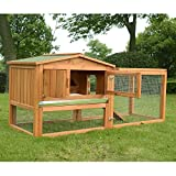 PawHut 62' Wooden Outdoor Guinea Pig Pet House/Rabbit Hutch Small Animal Habitat With Detachable Run And Elevated Main House