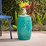Riley Outdoor 12″ Teal Iron Side Table For Sale