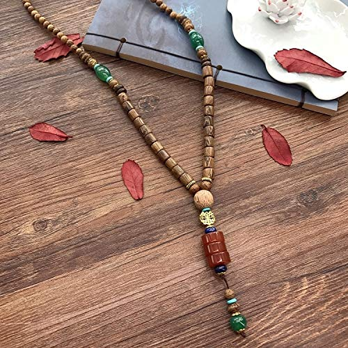 (Nepal National Retro Sweater Chain Necklace Pendant Long Men Women Wings Wooden Prayer Beads Bodhi Fashion (Shallow Wooden Wings - Three-Button red Agate)