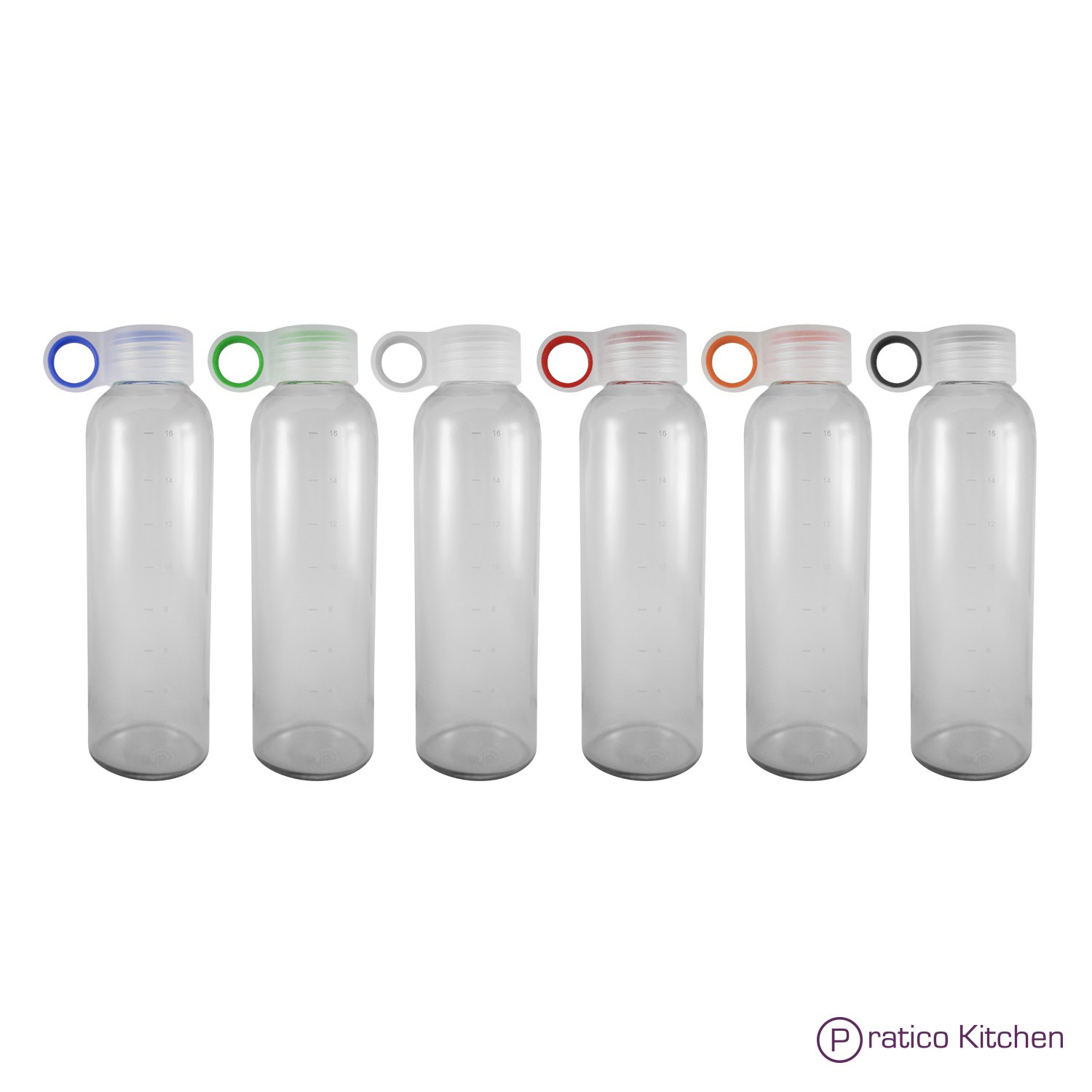 Pratico Kitchen 18oz Leak-Proof Glass Bottles, Juicing Containers, Water/Beverage Bottles - 6-Pack with Multi-Color Loop Caps by Pratico Kitchen (Image #2)