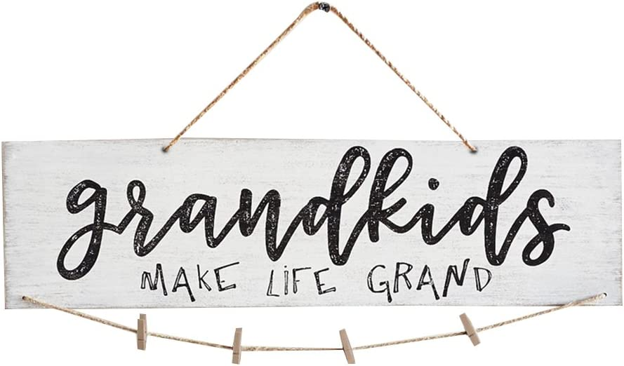VORCOOL Creative Mini Wooden Hanging Grandkids Make Life Grand Wall Board DIY Listing Note Clips Crafts (White)