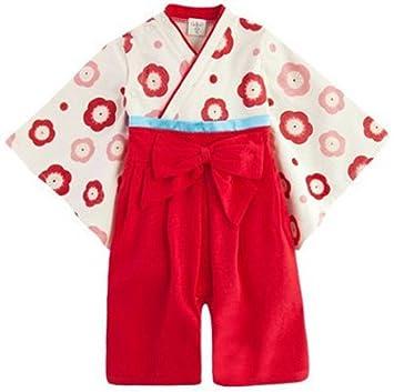 c73c3d612924f  紫京  かわいい ベビー 子供用 着物 袴 ロンパース ベビー服 (90 cm