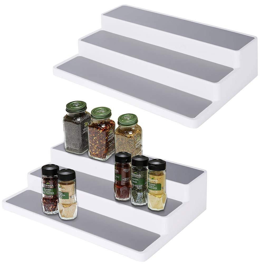 Vencer Non-Skid 3-Tier Storage Spice Rack Step Shelf for Kitchen Cabinet or Bathroom Organizers to Hold Vitamins,Supplements,Jars,Cans, 15 inches, Pack of 2, White, VFO-030
