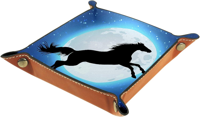 TIZORAX Caballo Gollaping en la noche estrellada luna llena de cuero caja de almacenamiento valet bandeja joyería organizador para llave de moneda