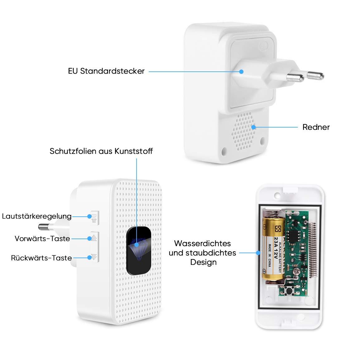Funkklingel Wasserdicht,Kabellose Türklingel batterie 300m Reichweite und 55 Klingeltönen,5 Lautstärkestufen (0db-110db),mit LED Anzeige