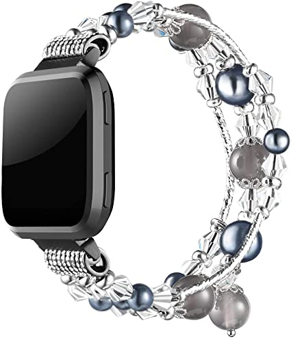 Simpeak Band Compatible with Fitbit Versa/Versa 2 / Versa Lite Smartwatch, Jewelry Bracelet Elastic Beaded Pearl Band Replacement for Fitbit ...