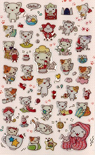 DECO-FAIRY-Cute-Litte-Cat-Kitten-Kitty-Happy-Life-Style-Stickers-50-Stickers