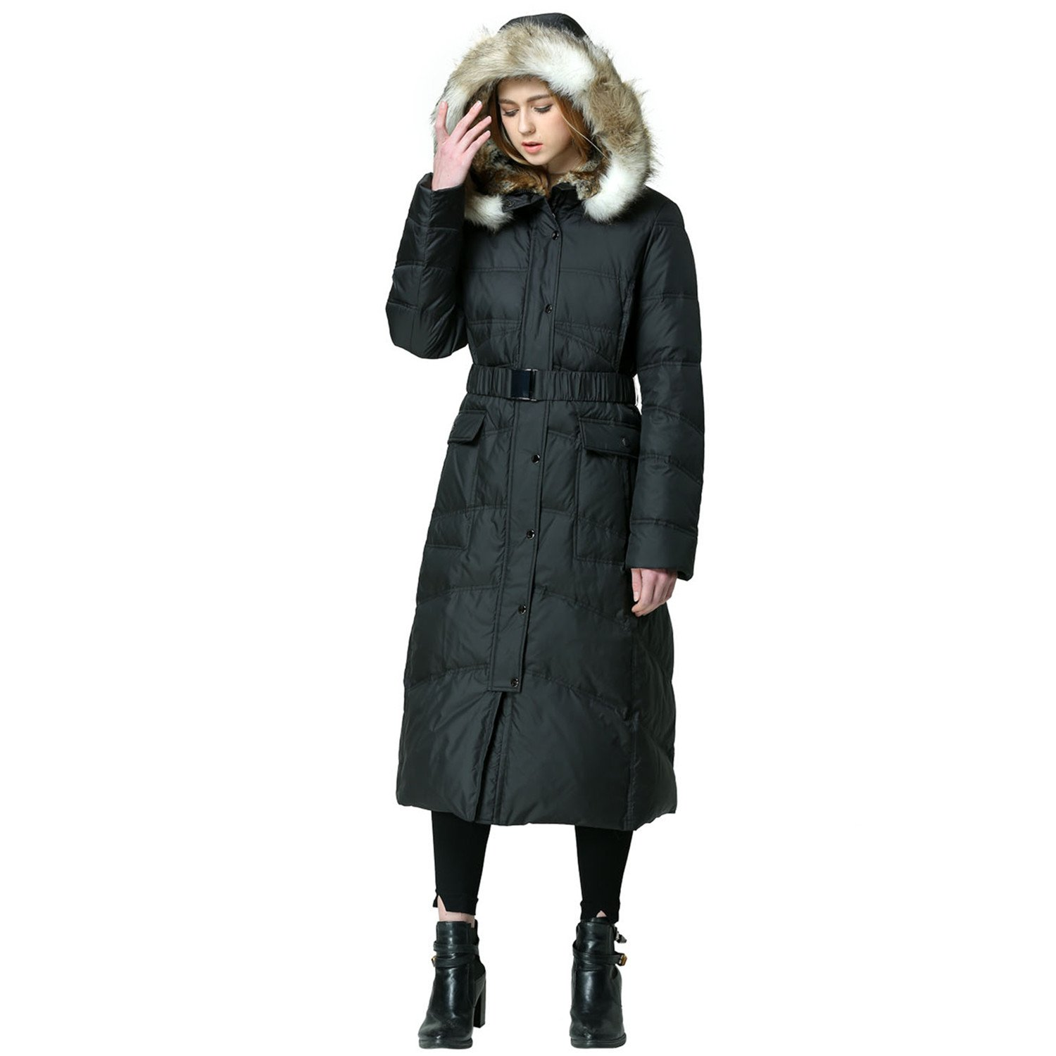 EOVVIO Women's Plus Long Thickened Faux Fur Hooded Down Jacket Coat (L, Black)