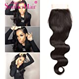 Brazilian Body Wave Closure 7a Grade Virgin Unprocessed Human Hair Lace Closure with Bady Hair Natural color 1 bundle