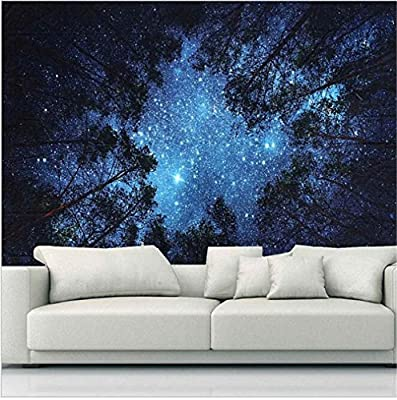 Sunm boutique Tapestry Wall Hanging Tapestry Galaxy Tapestry Milky Way Tapestry Starry Tapestry Forest Starry Sky Tapestry Tree Tapestry Bedspread Throw Blanket Home Room Wall Decor