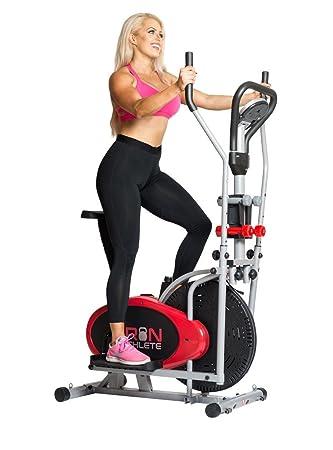 Hierro atleta elíptica 4-en-1 bicicleta estática elíptica, gimnasio en casa equipo