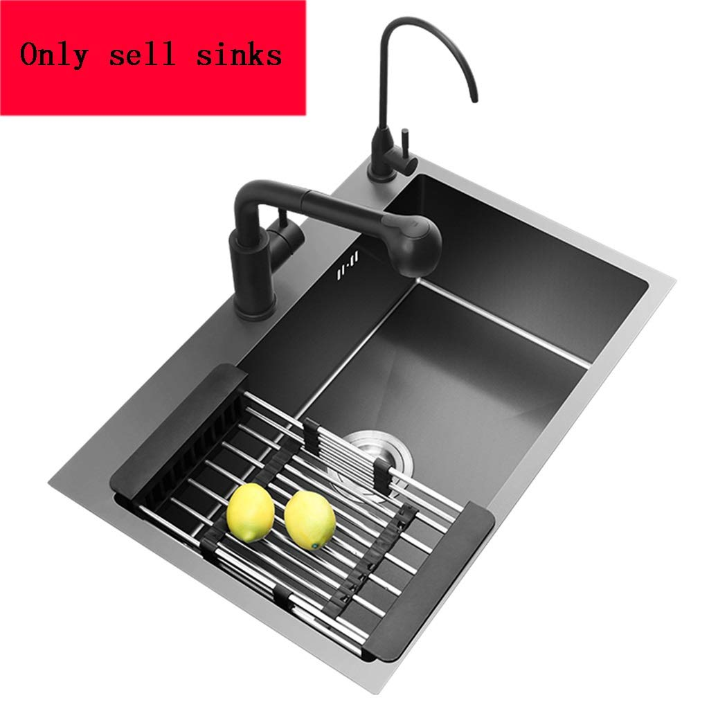 Kitchen Sinks Large Capacity Single-Mouth Tank Bar Black Dishwashing Pool Stainless Steel Household Cleaning Water Tools (Color : Black, Size : 504520cm) by Kitchen Sinks