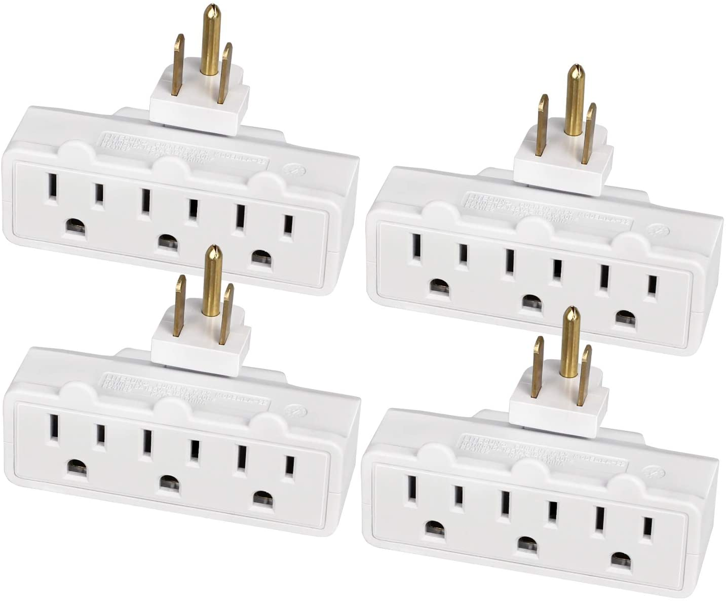 ABBOTECH 3 Grounded Outlet Wall Tap,Outlet Extender,180 Degree Swivel Outlet Plug,4 Pack,ETL listed