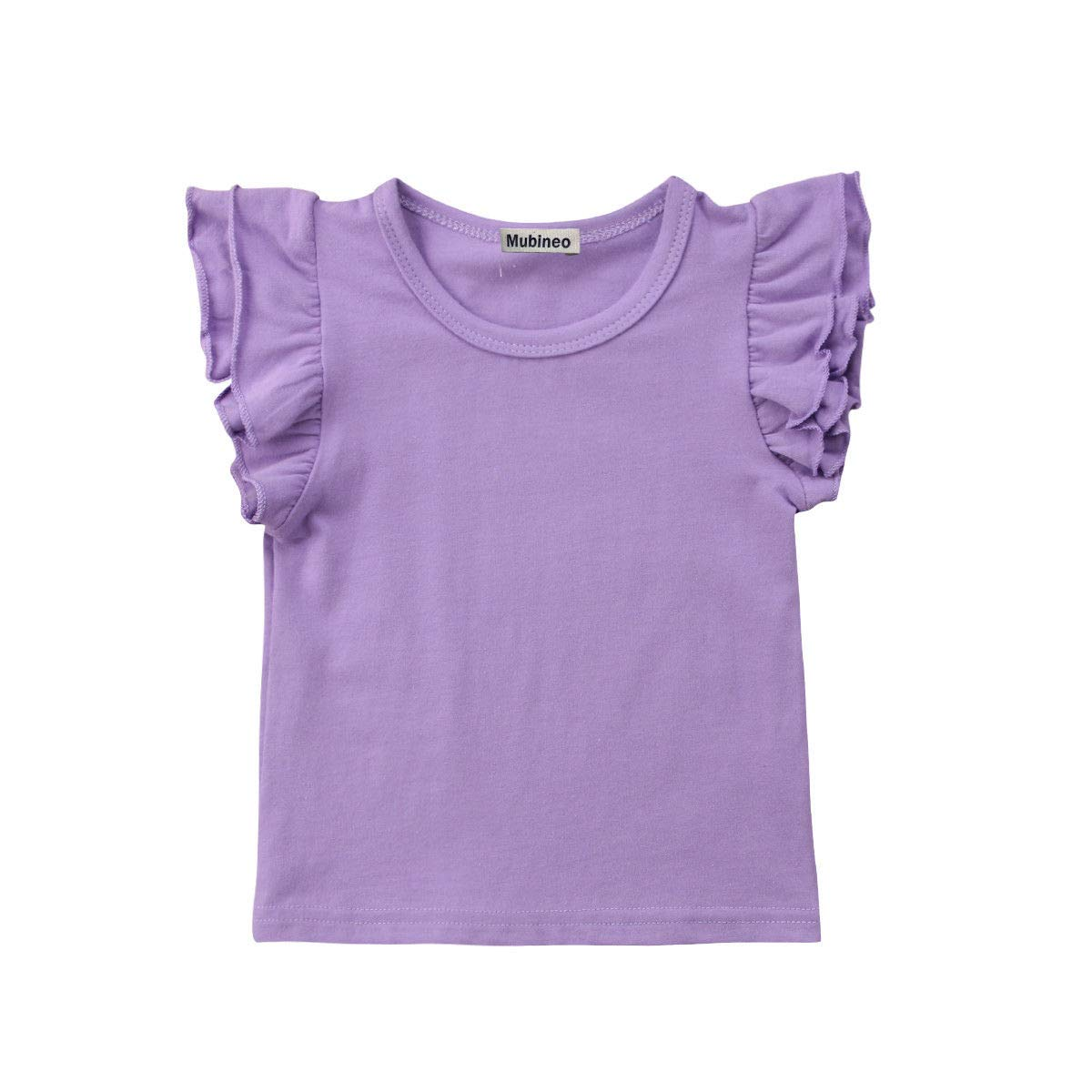 Toddler Baby Girl Basic Plain Ruffle Sleeve Cotton T Shirts Tops Tee Clothes (Purple, 2-3T)