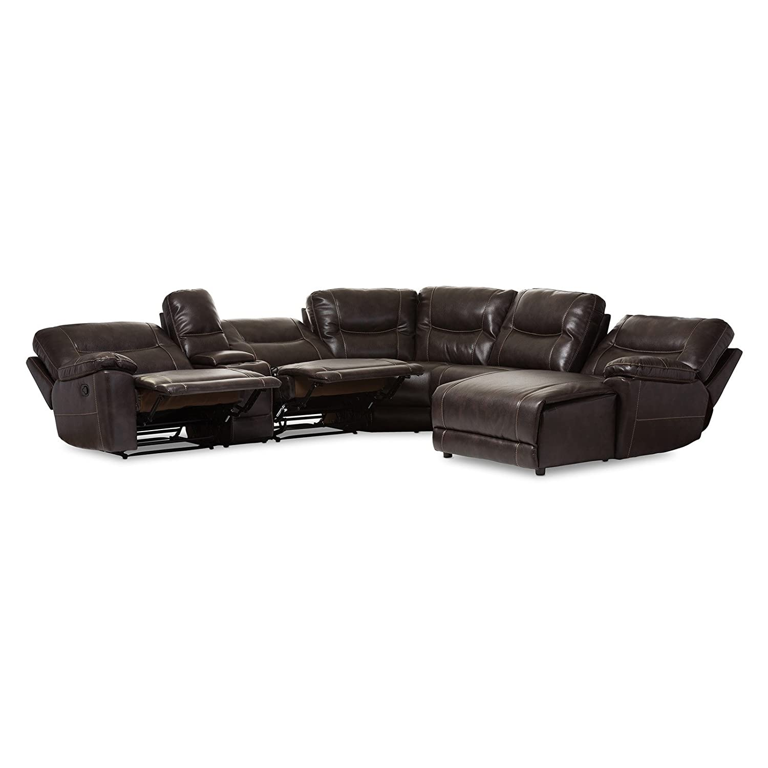 Amazon Baxton Studio Mistral 6 Piece Reclining Sectional in