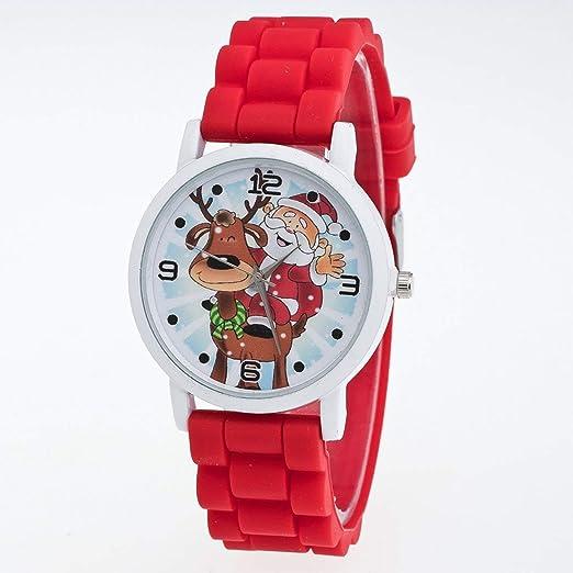 Navidad Decoracion Reloj de Cuarzo de Silicona con Cinta de Silicona para Dama Reloj Mujer de
