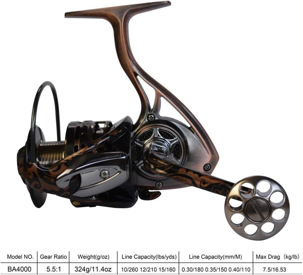 CYQAQ Carrete Giratorio de Pesca Spinning Metal Completo Liso ...