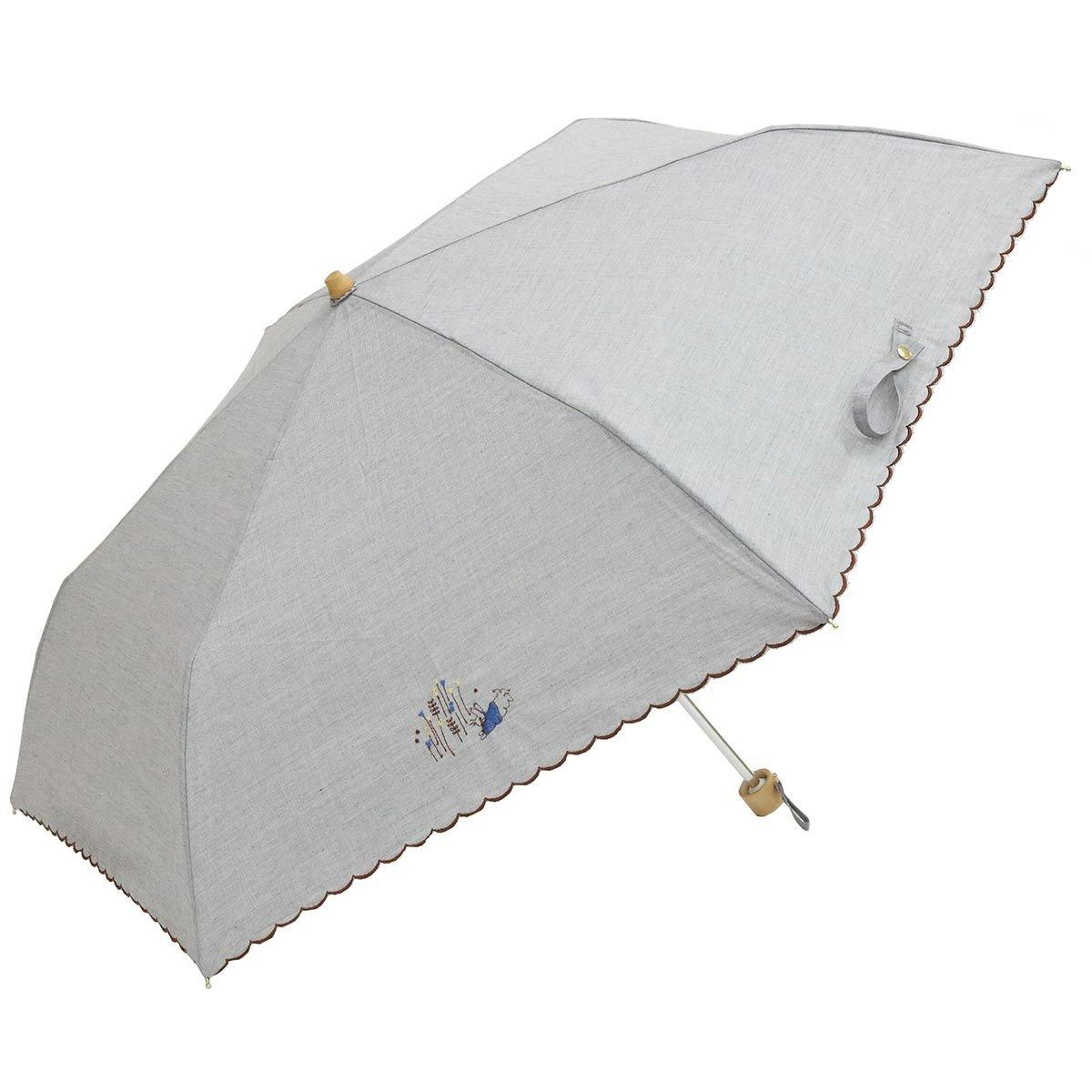 Nifty Colors 折りたたみ傘 グレー 50cm シャンブレー 刺繍 6本骨 UVカット95% 以上 B07CC26219グレー