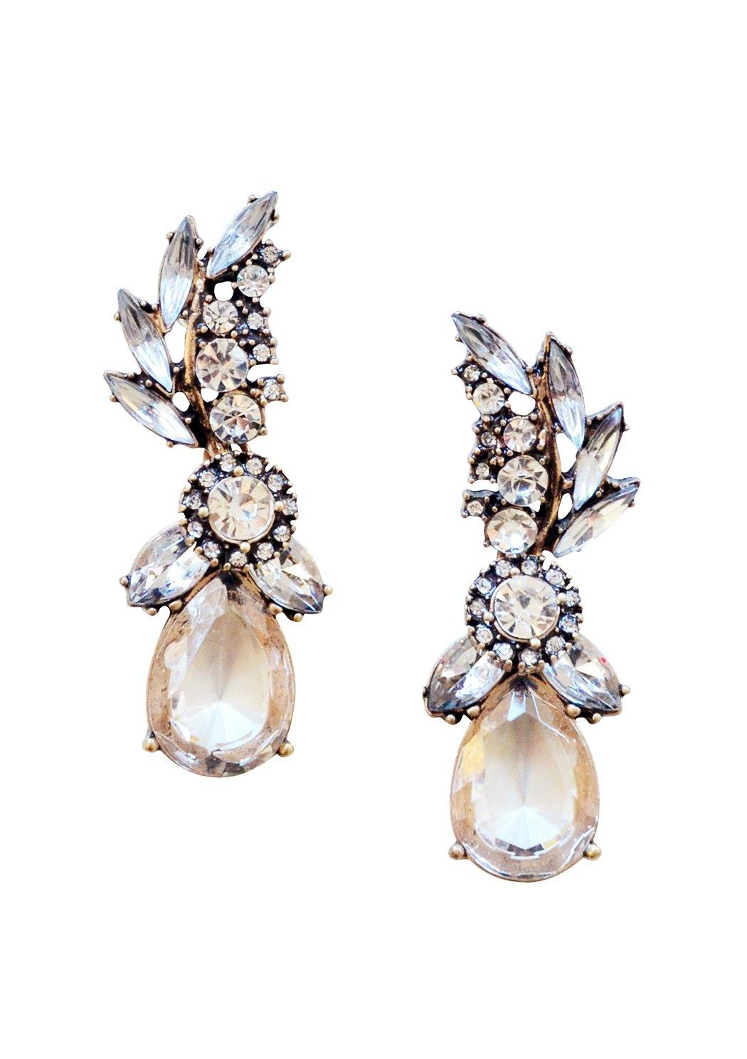 Statement Earrings in Clear Color | Chandelier Drop Earrings in Gold Color