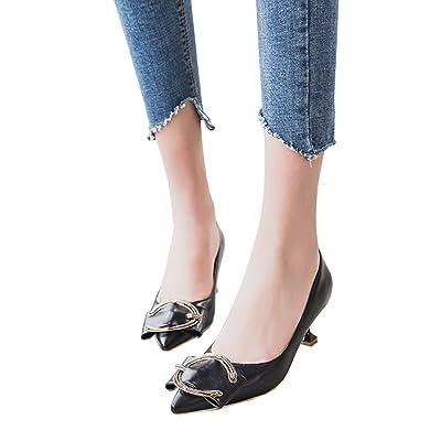5.5cm noir, chaussures de chaussures pointues peu profondes de ressort, boucle de C avec des talons hauts de talon, chaussures professionnelles de travail ( Couleur : Black5.5cm , taille : 39 )