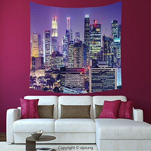 House Decor Square Tapestry-Modern Singapur City Financial District At Night With Skyscrapers Metropolis Panorama Violet Silver_Wall Hanging For Bedroom Living Room (Financial District Halloween)