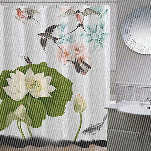 ZnzbztChina wind classical paintings in India ink lotus bathroom shower curtain wall curtains curtain curtain dressing curtains, wide High 1.8 2.0