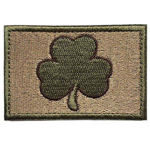 SpaceAuto Saint Patrick's Day Shamrock Clover Tactical Morale Embroidery Hook & Loop Patch 3″ x 1.97″ – Coyote