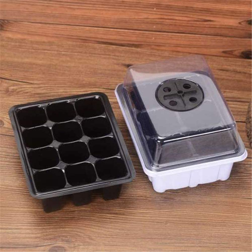 12 Cell Seedling Propagation Trays Seedling Tray with Adjustable Lid Plant Growing Trays Plastic Seedling Starter Trays Premium Seed Planting Trays 10 Pcs Seedling Starter Tray with Humidity Dome