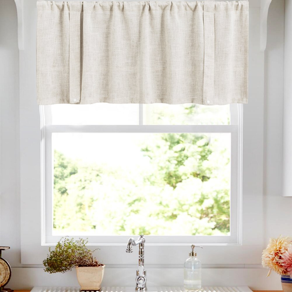 Valances for Windows Linen Textured Window Curtain Rod Pocket Crude Valance Curtains 18 Inches Long 1 Panel