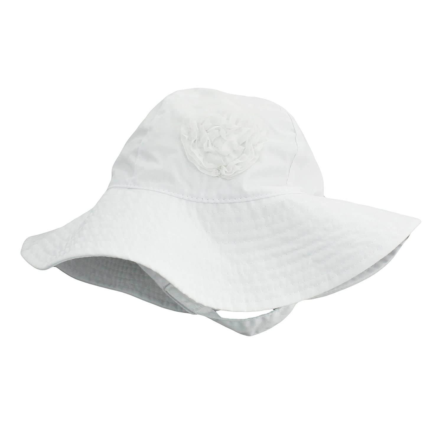 Amazon.com  Little Me Sun Hat with Heart and Chin Strap for Baby Girls  Solid White 3-9 Month  Baby 219647146ada