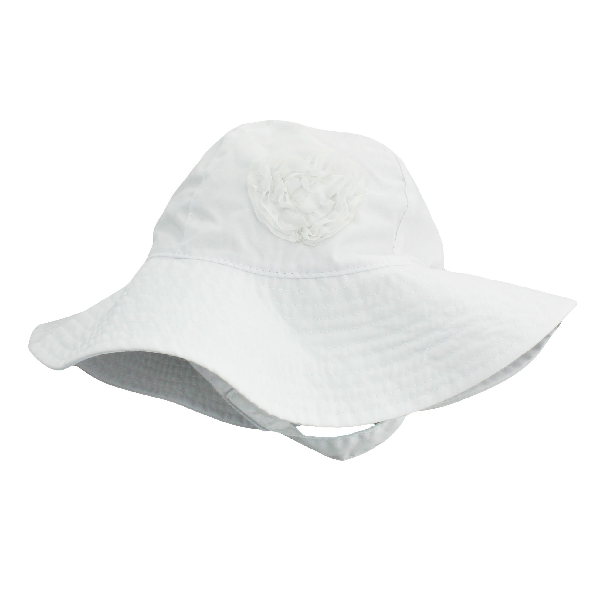8b47877d Little Me Sun Hat with Heart and Chin Strap for Infant Girls Solid White 12-