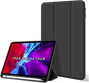 KenKe iPad Pro 11 Inch Case with Pencil Holder Slim Lightweight Smart Shell Soft Back Cover [Support Pencil Wireless Charging] Auto Wake/Sleep for iPad Pro 11 case (2020 / 2018 Model) - Black