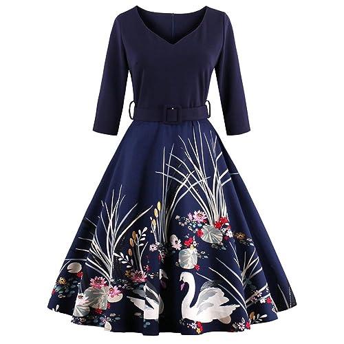 DressLily Women Swan Printed Belted Dress