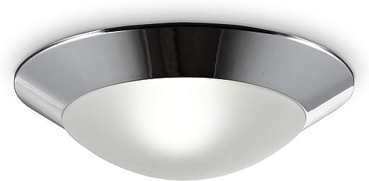 Projecteur 31 cm Verre blanc satin finition Argent Salle De Bain Lumière Plafonnier Encastré
